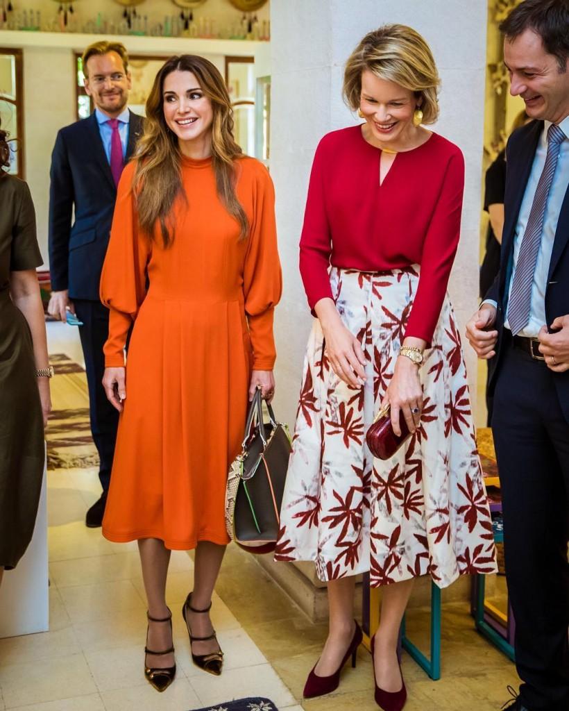 Queen Rania of jordan and Queen Mathilde of Belgium visit ...
