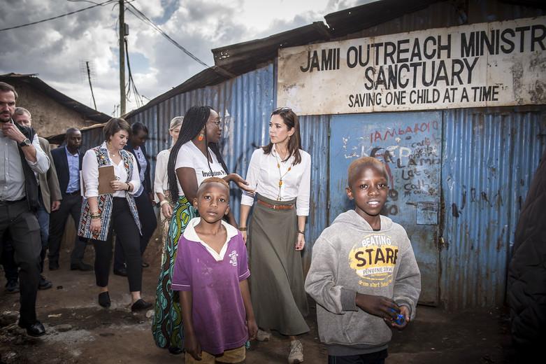 DENMARK: HRH Crown Princess Mary visits Kenya day 2 - KIBERA SLUM