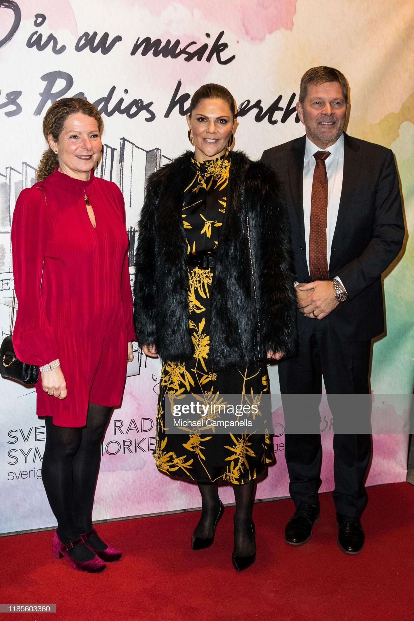 STOCKHOLM, SWEDEN - NOVEMBER 30: Crown Princess Victoria of Sweden (center) arrives at Berwaldhallen to attend a concert in celebration of Berwaldhallens 40th anniversary on November 30, 2019 in Stockholm, Sweden. (Photo by Michael Campanella/Getty Images)