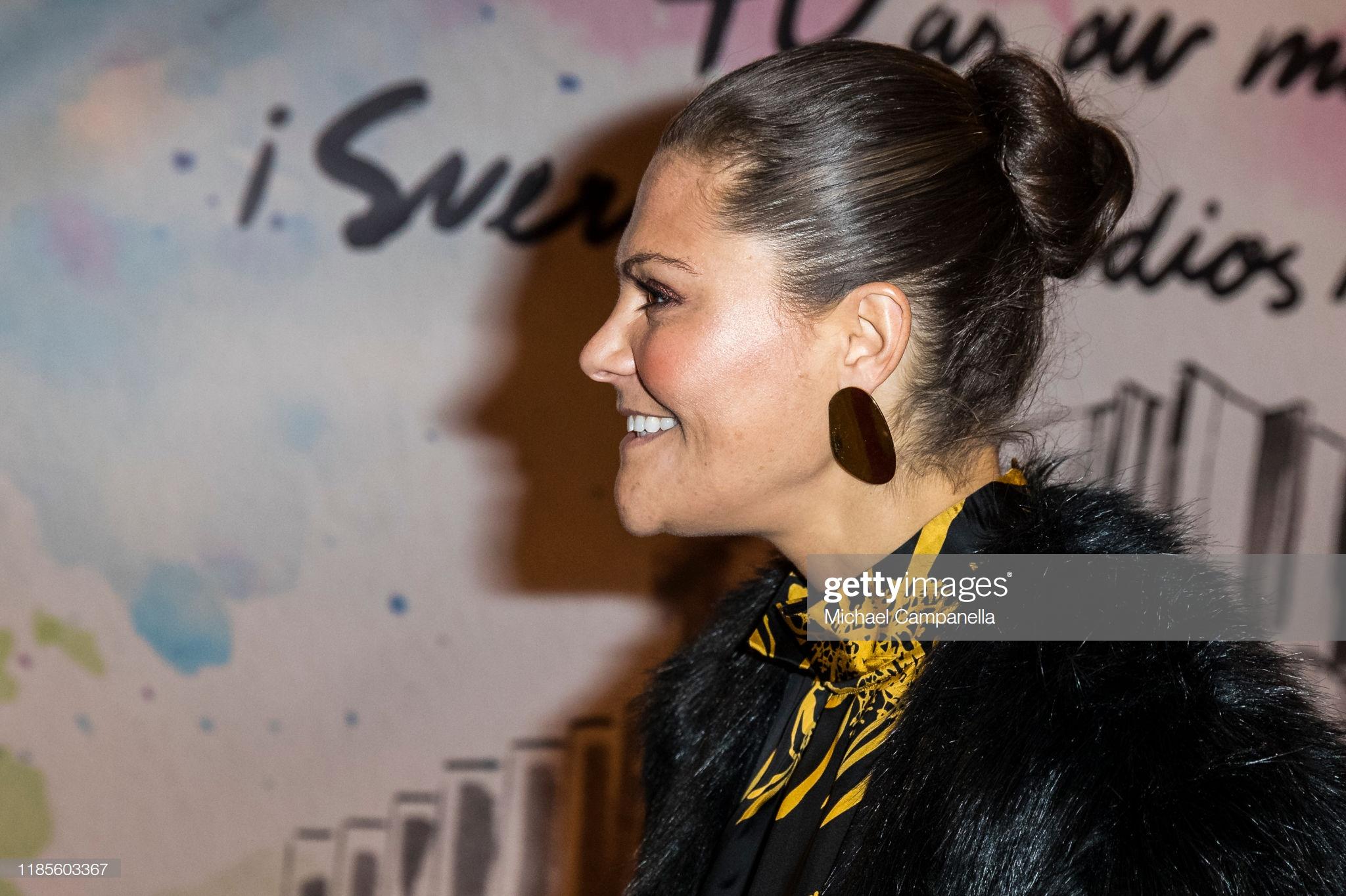 STOCKHOLM, SWEDEN - NOVEMBER 30: Crown Princess Victoria of Sweden arrives at Berwaldhallen to attend a concert in celebration of Berwaldhallens 40th anniversary on November 30, 2019 in Stockholm, Sweden. (Photo by Michael Campanella/Getty Images)